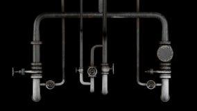 Satz alte, rostige Rohre und Ventile lokalisiert auf schwarzem Hintergrund lizenzfreie abbildung