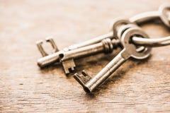 Satz alte Weinleseschlüssel auf einem Ring Stockbild