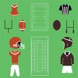 Satz amerikanischer Fußball und Rugby-Ikonen und Vektoren Lizenzfreies Stockbild
