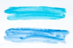 Satz Aquarellbürstenanschläge der blauen und azurblauen Farbe auf Weiß lizenzfreies stockfoto