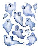 Satz Aquarellhalloween-Geister Dekoratives Bild einer Flugwesenschwalbe ein Blatt Papier in seinem Schnabel Stockfoto