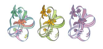 Satz Aquarellillustration dekorativer Blumen-Jugendstil Lizenzfreies Stockbild