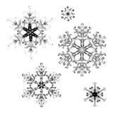 Satz Aquarellschneeflocken auf weißem Hintergrund Handgemaltes Muster Stockfotografie