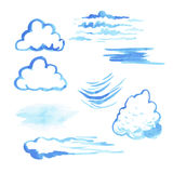 Satz Aquarellwolken Lizenzfreie Stockfotos