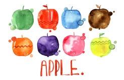 Satz Aquarellzeichnungsäpfel, Lebensmittelgestaltungselemente, frische Früchte, Hand gezeichnete Illustration Lizenzfreie Stockbilder