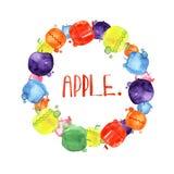 Satz Aquarellzeichnungsäpfel, Lebensmittelgestaltungselemente, frische Früchte, Hand gezeichnete Illustration Stockbild