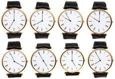 Satz Armbanduhrskala mit unterschiedlicher Zeit Lizenzfreie Stockbilder