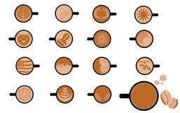 Satz Art Images des Cappuccinos und des Kaffees Stockfoto