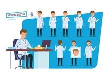 Satz Arztes, Gesundheitswesen Doktor in den verschiedenen Situationen, Haltungen lizenzfreie abbildung