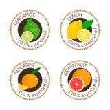 Satz Aufkleber der ätherischen Öle Bergamotte, Zitrone, Pampelmuse, Mandarine vektor abbildung
