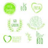 Satz Aufkleber des Aquarellbiologischen lebensmittels Eco Produkt Lizenzfreie Stockfotos