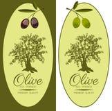 Satz Aufkleber für Olivenöle stock abbildung