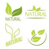 Satz Aufkleber, Logos mit Text Natürlich, eco Lebensmittel Biologisches Lebensmittel Lizenzfreies Stockbild