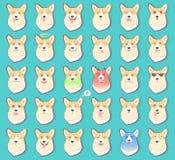Satz Aufkleber mit Gefühlen des Hundevektors stock abbildung