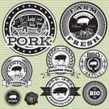 Satz Aufkleber mit Schwein und Schweinefleisch Stockfoto