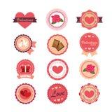Satz Aufkleber und Ausweise für Valentinstag Lizenzfreies Stockbild