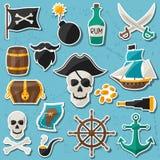 Satz Aufkleber und Gegenstände auf Piratenthema Stockfotos
