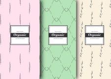 Satz Aufkleber, verpackend für organischen Shop oder Naturkosmetik Vektorblumenmuster mit zarten Farben Stockbild