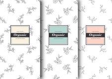 Satz Aufkleber, verpackend für organischen Shop oder Naturkosmetik Vektorblumenmuster Schablone für verpackendes Produkt Stockfoto