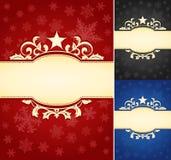 Satz aufwändiger Weihnachtsfahnen-Hintergrund Lizenzfreies Stockfoto