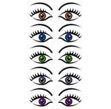 Satz Augen der Frauen Stockbild