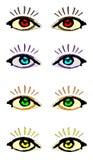 Satz Augen und Wimpern Stockfotos