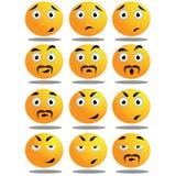 Satz ausdrucksvolle Emoticons Stockbild