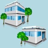 Satz ausführliche Bürogebäude des Vektors mit Bäumen Lizenzfreie Stockfotografie