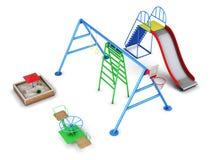 Satz Ausrüstung in einem Spielplatz 3d übertragen image lizenzfreie abbildung