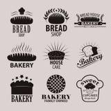 Satz Bäckerei- und Brotshoplogos, Aufkleber, Ausweise und Gestaltungselemente Stockbilder