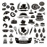 Satz Bäckereigestaltungselemente und -ikonen vektor abbildung