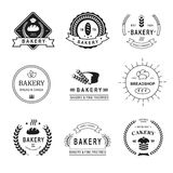Satz Bäckereilogos, -aufkleber, -ausweise und -Design Stockfoto