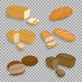 Satz Bäckereiprodukte lokalisiert auf einem transparenten Hintergrund vektor abbildung