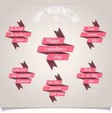 Satz Bänder für Valentinsgruß-Tag Lizenzfreies Stockfoto