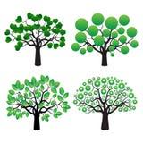 Satz Bäume und grüne Blätter Lizenzfreies Stockfoto