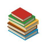 Satz Bücher und Tutorien Isometrischer flacher Vektor Stockbild