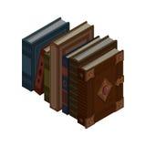 Satz Bücher und Tutorien Isometrischer flacher Vektor Stockfoto