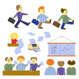 Satz Büro-Leuteillustration der Karikatur der lustigen Оffice-Karikatur lizenzfreies stockfoto