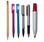 Satz Büro-Stifte und Bleistifte Lizenzfreie Stockfotos