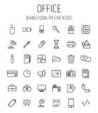 Satz Büroikonen in der modernen dünnen Linie Art Lizenzfreie Stockbilder