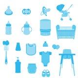 Satz Baby-Sorgfalt-und Kinderausrüstungs-Vektoren und Ikonen Stockfoto