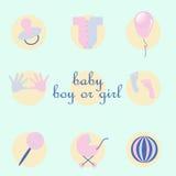 Satz Babyeinzelteile in der Art flach Stockfotos