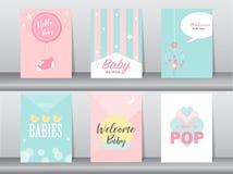 Satz Babypartyeinladungskarten, Plakat, Gruß, Schablone, Geburtstag, Vektorillustrationen lizenzfreie abbildung