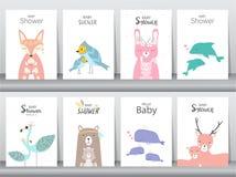 Satz Babypartyeinladungskarten, Plakat, Gruß, Schablone, Tiere, Kaninchen, Kuchen, Storch, Gans, Wal, Vögel, Rotwild, Vektor illu lizenzfreie abbildung