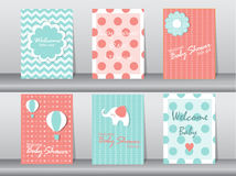 Satz Babypartyeinladungskarten, Plakat, Schablone, Grußkarten, Tier, Elefant, Punkt, Vektorillustrationen Lizenzfreies Stockfoto