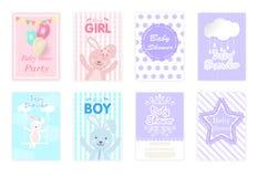 Satz Babypartykarten, Glückwunschkarte, netter Warenkorb der Grußkarte vektor abbildung