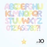 Satz Ballon-Vektor-Alphabet und Zahlen stock abbildung