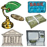 Satz Bankwesengegenstände Stockfoto
