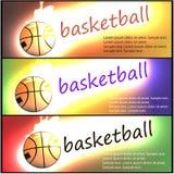 Satz Basketballfahnen Lodernder Basketball Lizenzfreies Stockbild