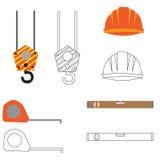 Satz Baugeräte und Werkzeuge, Vektorbild Flache Ikone stockbild